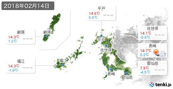 長崎県(2018年02月14日の天気