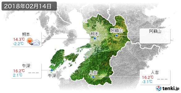 熊本県(2018年02月14日の天気