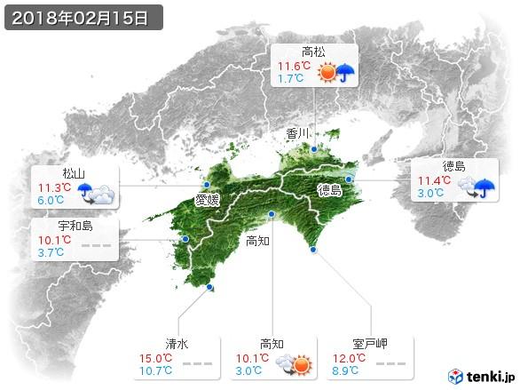 四国地方(2018年02月15日の天気