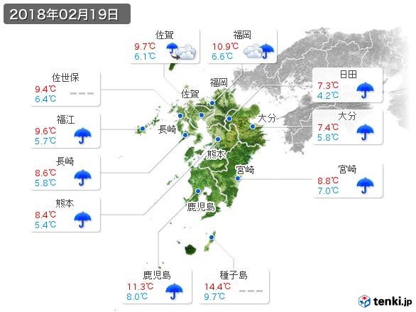 九州地方(2018年02月19日の天気