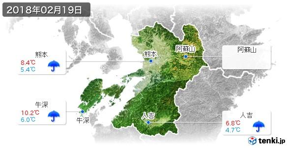 熊本県(2018年02月19日の天気