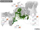 2018年02月21日の東海地方の実況天気