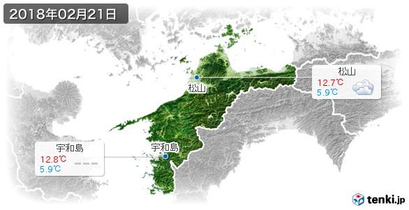 愛媛県(2018年02月21日の天気