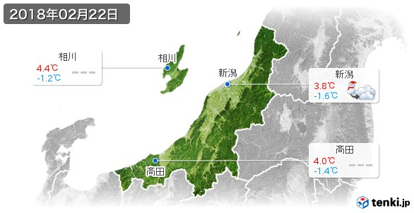 新潟県(2018年02月22日の天気