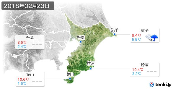 千葉県(2018年02月23日の天気