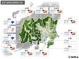 2018年03月01日の関東・甲信地方の実況天気