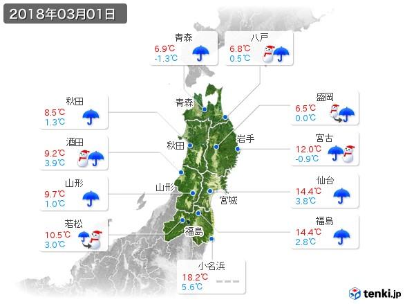 東北地方(2018年03月01日の天気