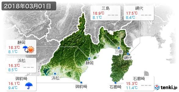 静岡県(2018年03月01日の天気