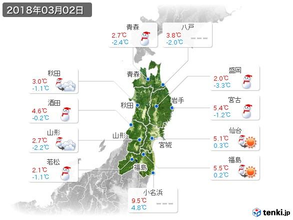 東北地方(2018年03月02日の天気