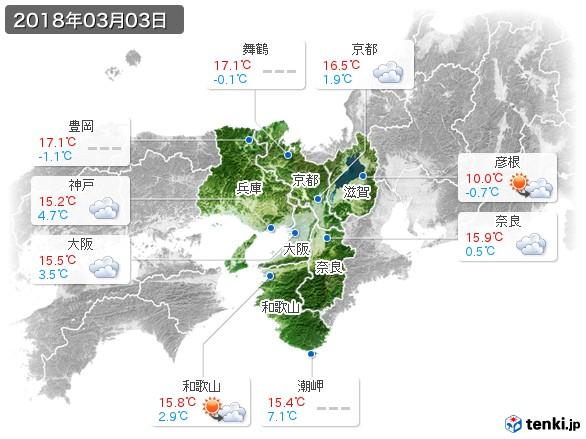 近畿地方(2018年03月03日の天気
