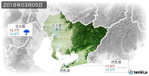 愛知県(2018年03月05日の天気