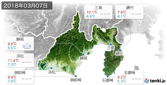 静岡県(2018年03月07日の天気