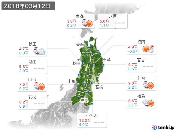 東北地方(2018年03月12日の天気