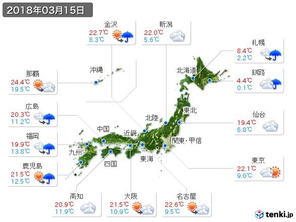 (2018年03月15日の天気