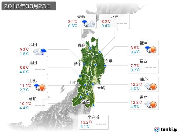 東北地方(2018年03月23日の天気