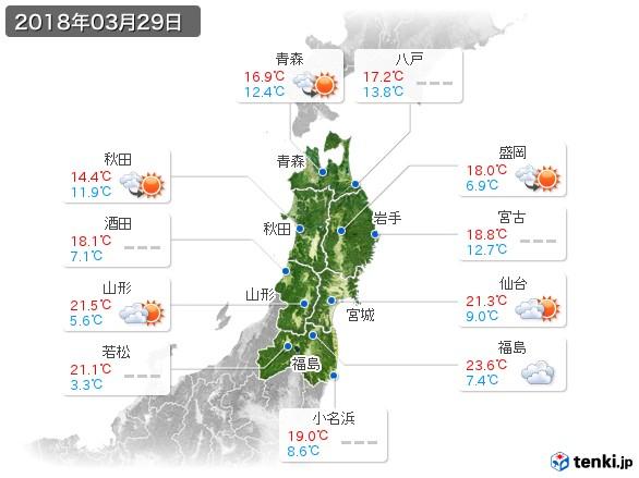 東北地方(2018年03月29日の天気