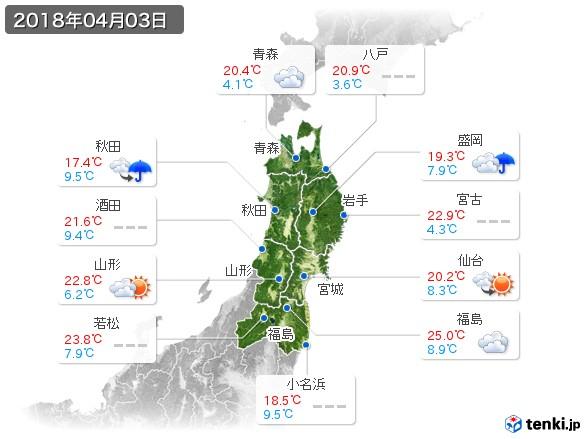 東北地方(2018年04月03日の天気