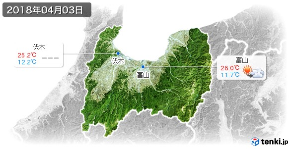 富山県(2018年04月03日の天気