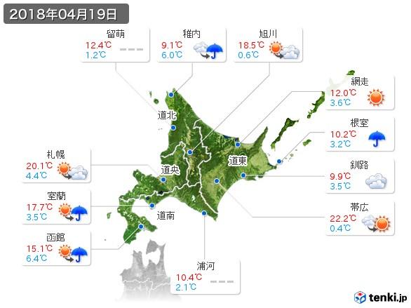 北海道地方(2018年04月19日の天気