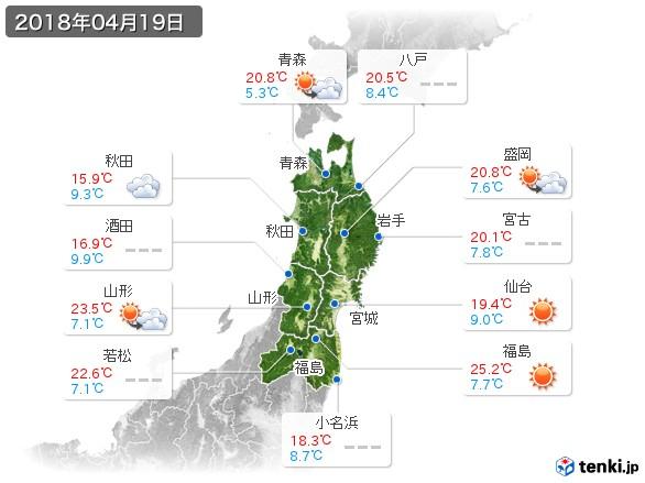 東北地方(2018年04月19日の天気