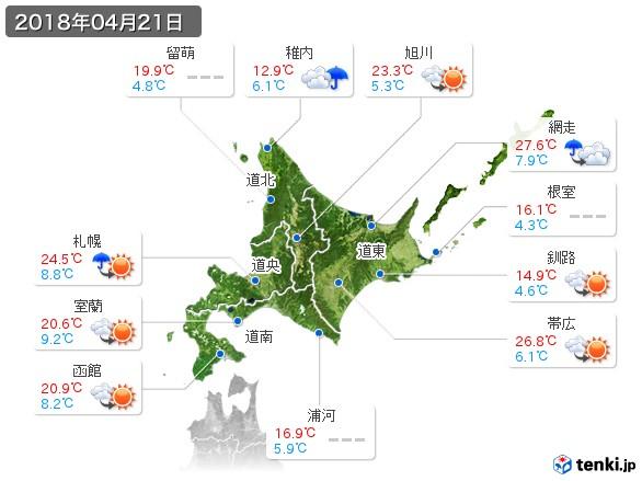 北海道地方(2018年04月21日の天気