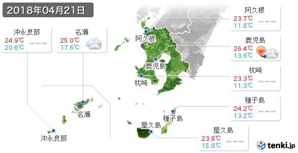 鹿児島県(2018年04月21日の天気