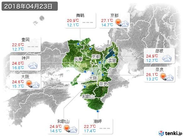 近畿地方(2018年04月23日の天気