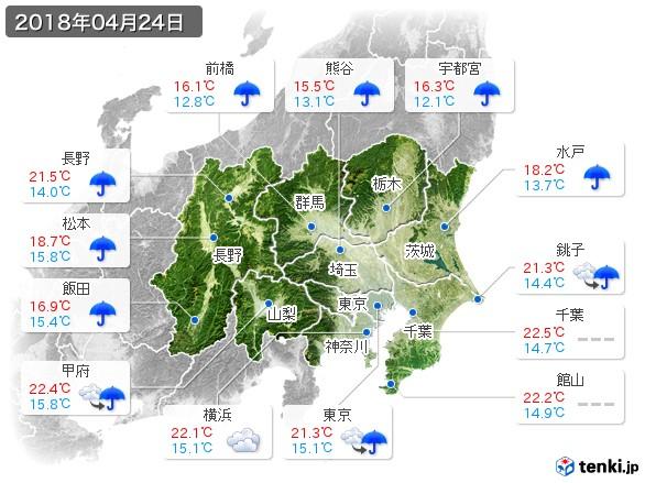 関東・甲信地方(2018年04月24日の天気