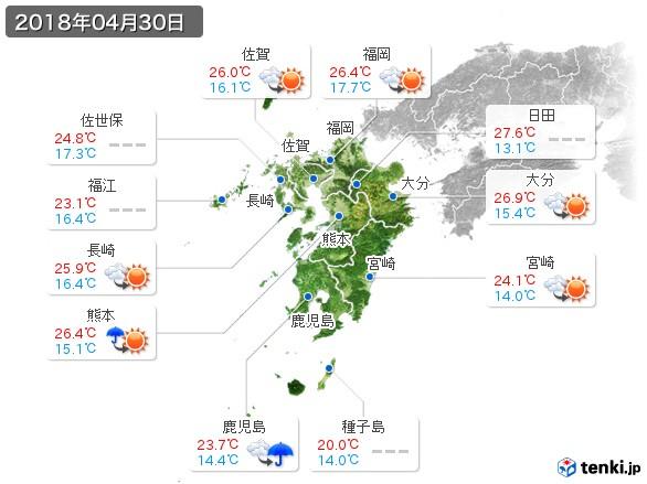 九州地方(2018年04月30日の天気
