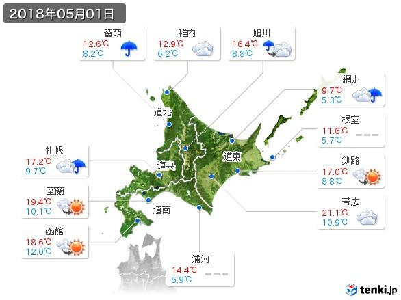 北海道地方(2018年05月01日の天気