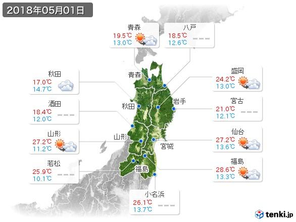東北地方(2018年05月01日の天気