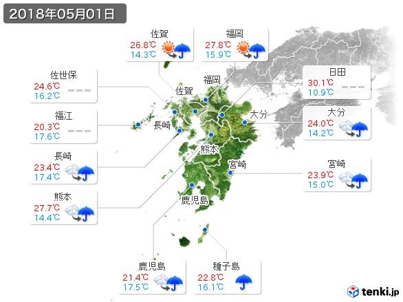 九州地方(2018年05月01日の天気
