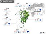 2018年05月02日の九州地方の実況天気