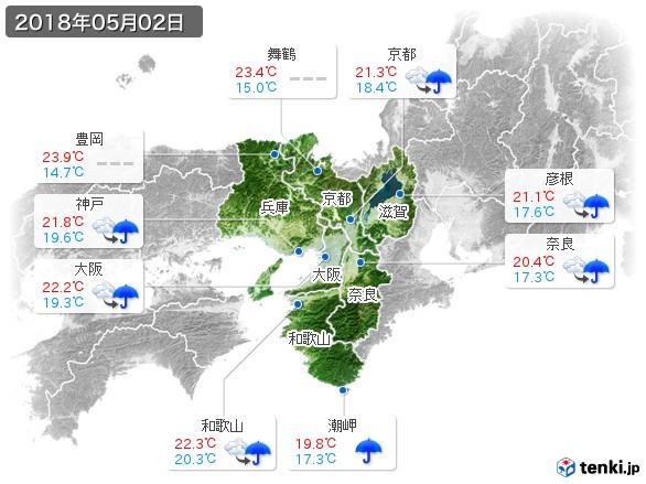近畿地方(2018年05月02日の天気