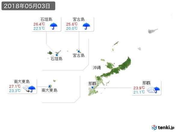 沖縄地方(2018年05月03日の天気