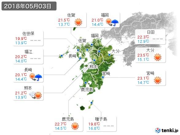 九州地方(2018年05月03日の天気