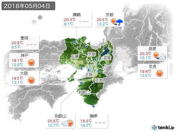 近畿地方(2018年05月04日の天気