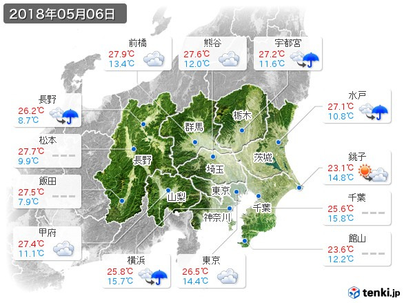 関東・甲信地方(2018年05月06日の天気