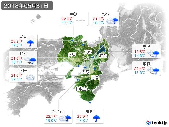 近畿地方(2018年05月31日の天気