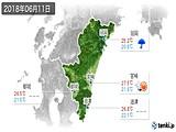 2018年06月11日の宮崎県の実況天気