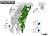 2018年06月17日の宮崎県の実況天気