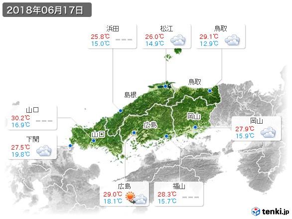 中国地方(2018年06月17日の天気