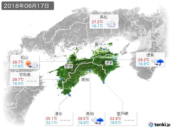 四国地方(2018年06月17日の天気