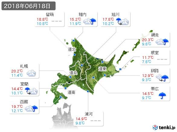 北海道地方(2018年06月18日の天気