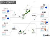 2018年07月01日の沖縄県の実況天気