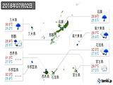 2018年07月02日の沖縄県の実況天気