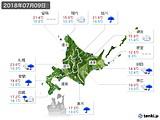 2018年07月09日の北海道地方の実況天気