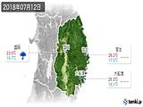 2018年07月12日の岩手県の実況天気
