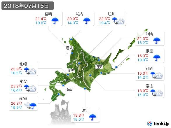 北海道地方(2018年07月15日の天気