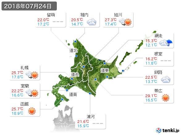 北海道地方(2018年07月24日の天気